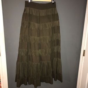 Anthro Odille Tulle Inset Tiered Maxi Skirt